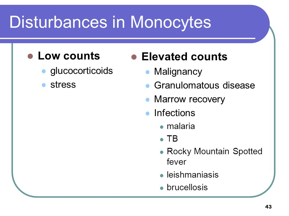 Disturbances in Monocytes Low counts glucocorticoids stress Elevated counts Malignancy Granulomatous disease Marrow recovery Infections malaria TB Roc