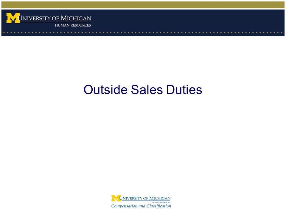 Outside Sales Duties