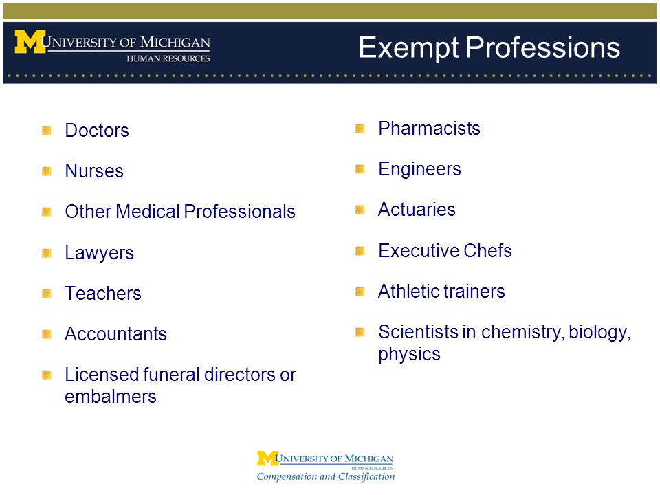 Exempt Professions Doctors Nurses Other Medical Professionals Lawyers Teachers Accountants Licensed funeral directors or embalmers Pharmacists Enginee