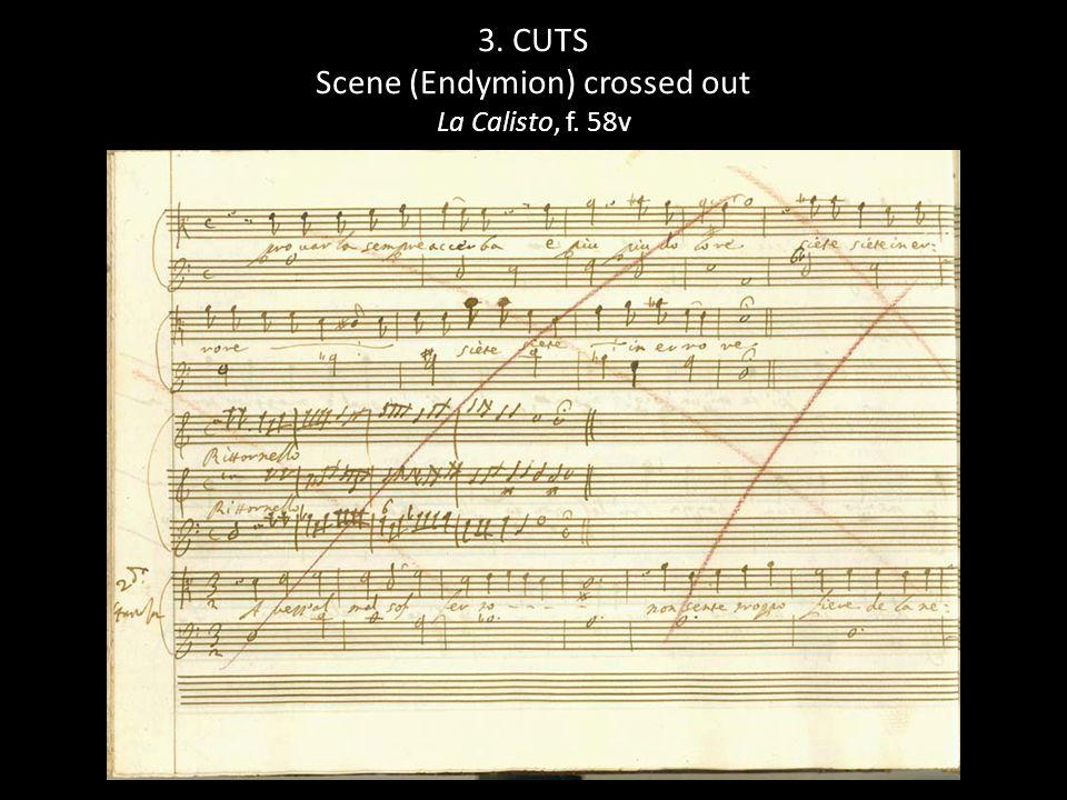 3. CUTS Scene (Endymion) crossed out La Calisto, f. 58v