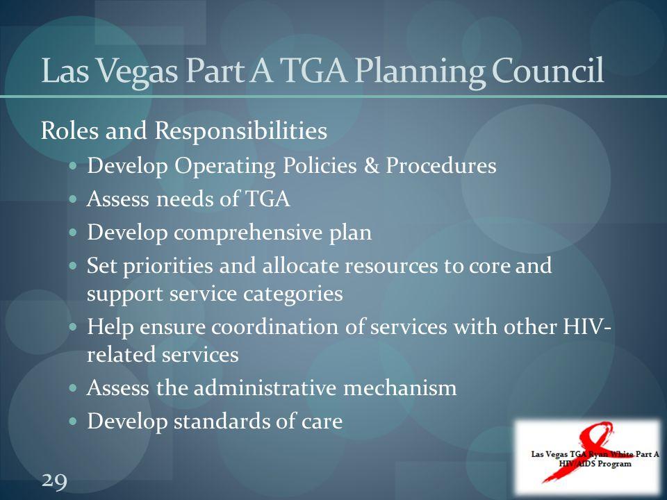 Las Vegas Part A TGA Planning Council Roles and Responsibilities Develop Operating Policies & Procedures Assess needs of TGA Develop comprehensive pla