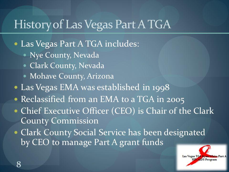 History of Las Vegas Part A TGA Las Vegas Part A TGA includes: Nye County, Nevada Clark County, Nevada Mohave County, Arizona Las Vegas EMA was establ
