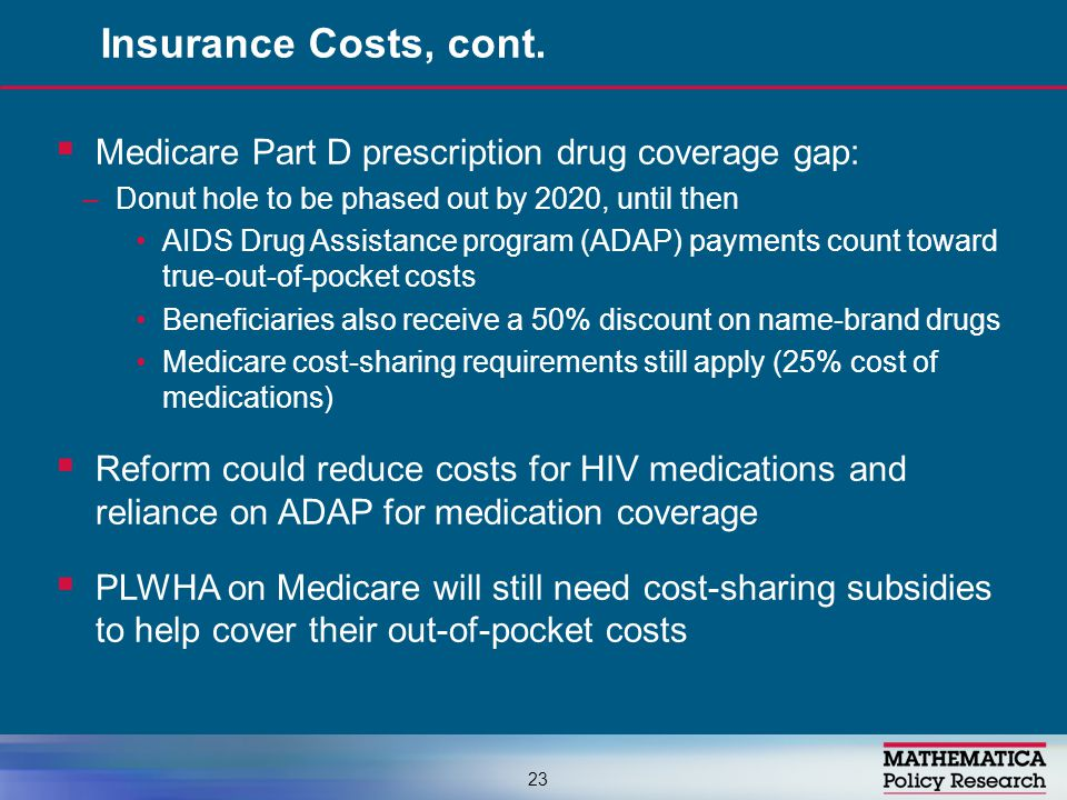  Medicare Part D prescription drug coverage gap: –Donut hole to be phased out by 2020, until then AIDS Drug Assistance program (ADAP) payments count toward true-out-of-pocket costs Beneficiaries also receive a 50% discount on name-brand drugs Medicare cost-sharing requirements still apply (25% cost of medications)  Reform could reduce costs for HIV medications and reliance on ADAP for medication coverage  PLWHA on Medicare will still need cost-sharing subsidies to help cover their out-of-pocket costs Insurance Costs, cont.