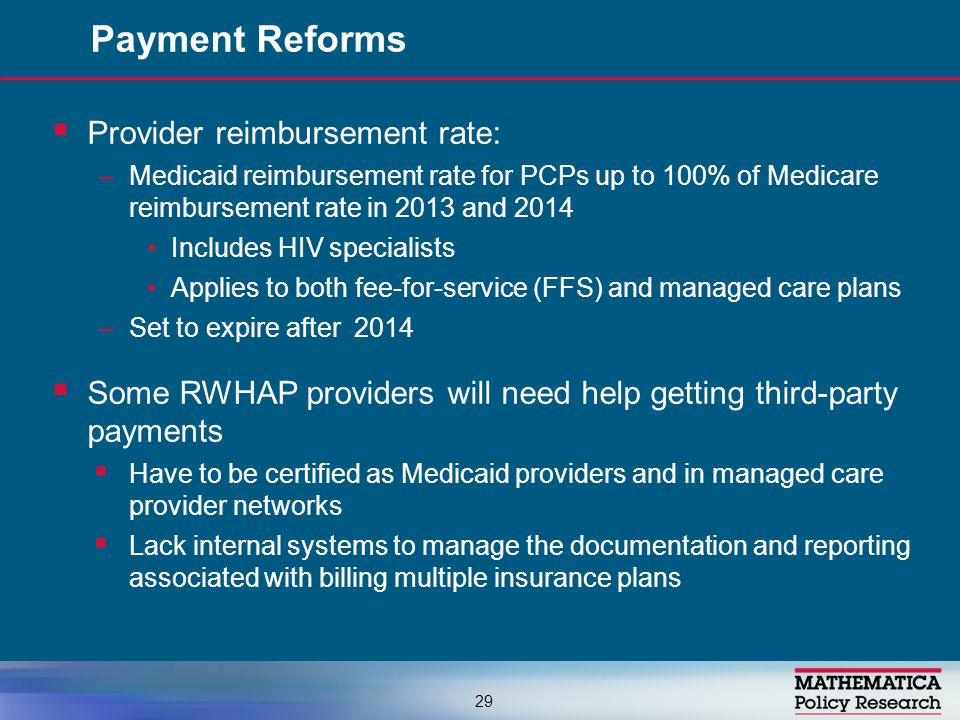  Provider reimbursement rate: –Medicaid reimbursement rate for PCPs up to 100% of Medicare reimbursement rate in 2013 and 2014 Includes HIV specialis