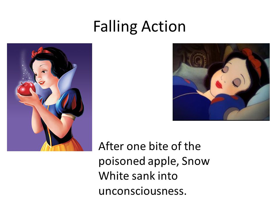 Climax The evil queen found out where Snow White was living and disguised herself as a witch. She took a poisoned apple to the dwarfs cottage and gave