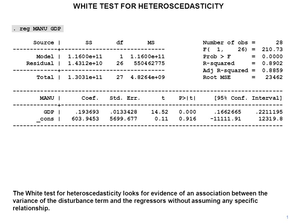 WHITE TEST FOR HETEROSCEDASTICITY 1 The White test for heteroscedasticity looks for evidence of an association between the variance of the disturbance term and the regressors without assuming any specific relationship..