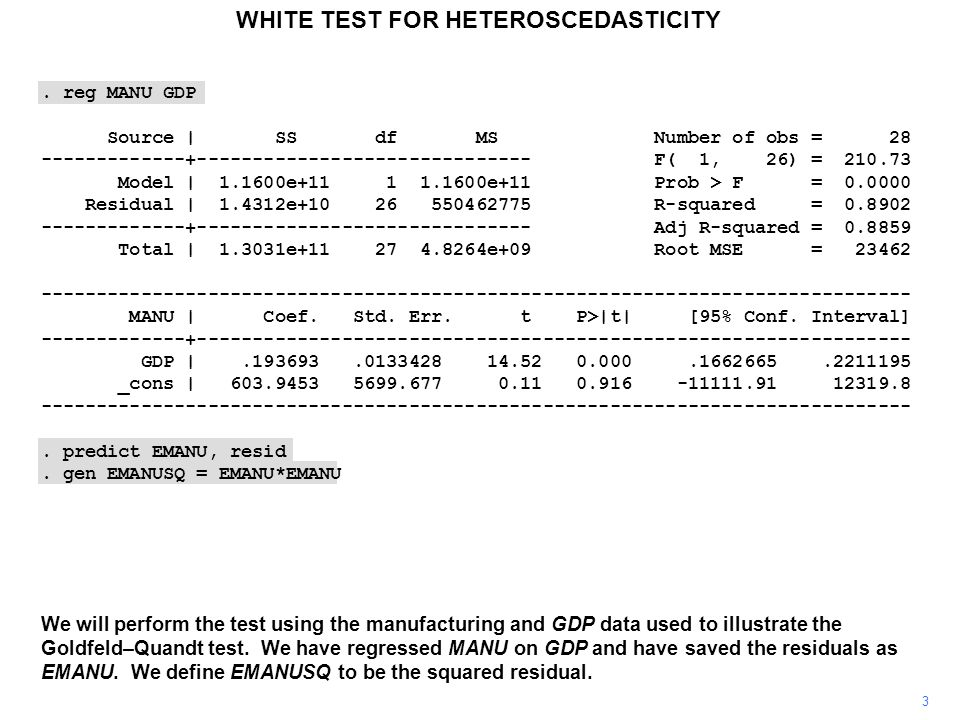 WHITE TEST FOR HETEROSCEDASTICITY 3 We will perform the test using the manufacturing and GDP data used to illustrate the Goldfeld–Quandt test. We have