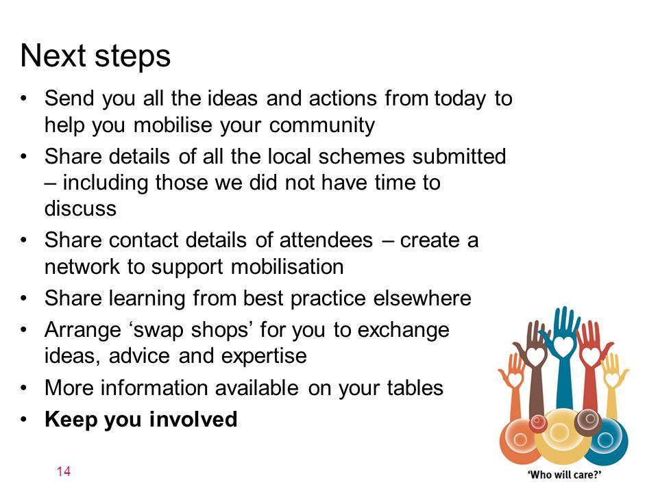 Next steps Send you all the ideas and actions from today to help you mobilise your community Share details of all the local schemes submitted – includ