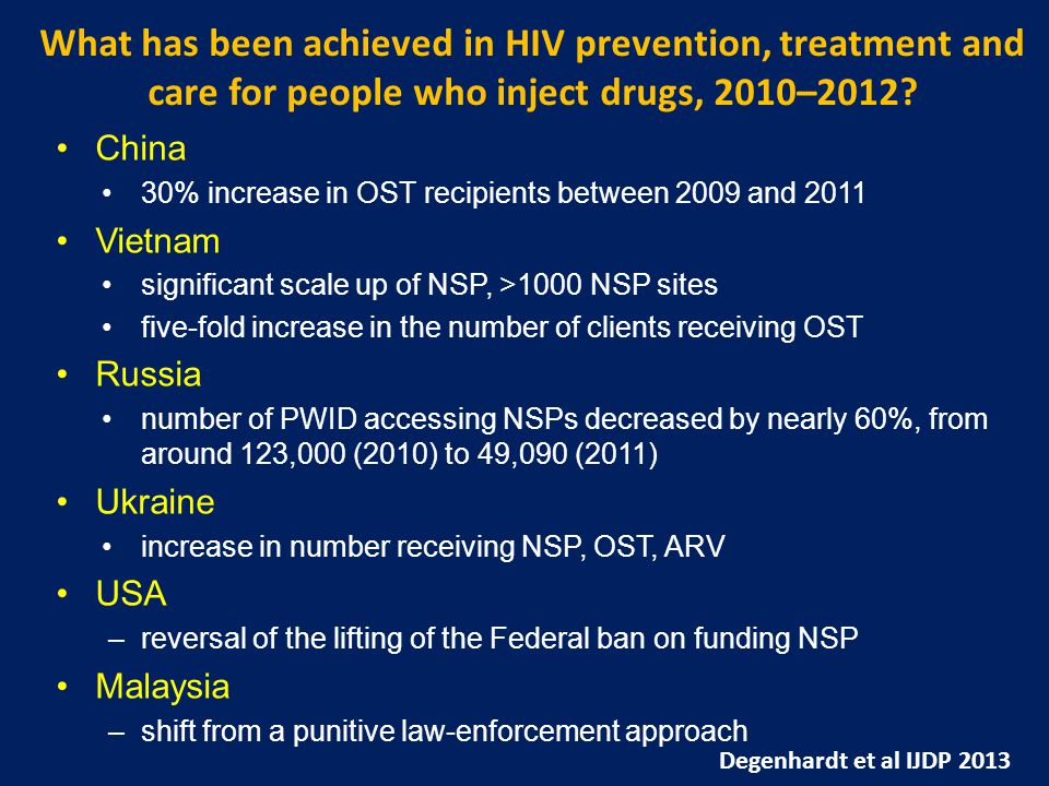 What has been achieved in HIV prevention, treatment and care for people who inject drugs, 2010–2012.