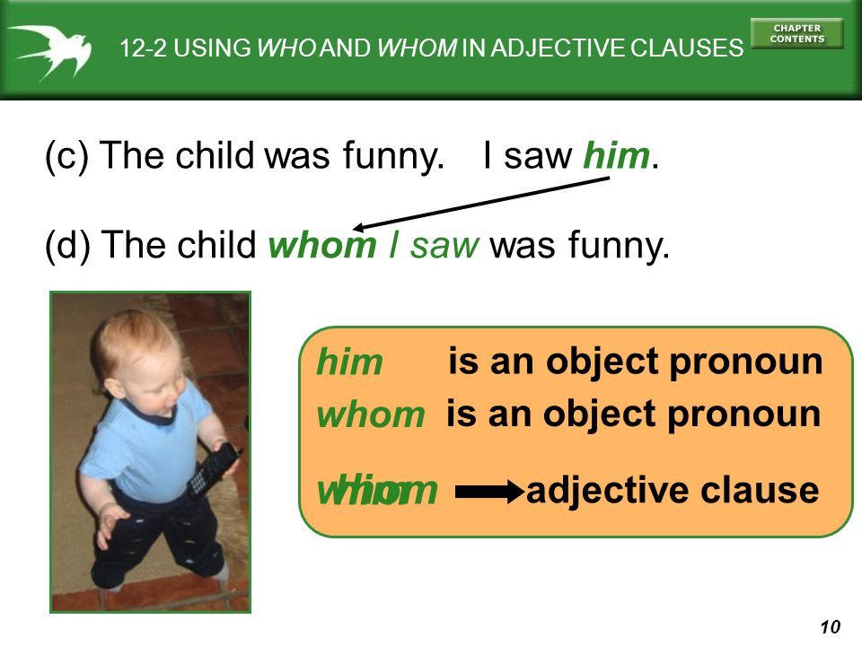 10 12-2 USING WHO AND WHOM IN ADJECTIVE CLAUSES (c) The child was funny.