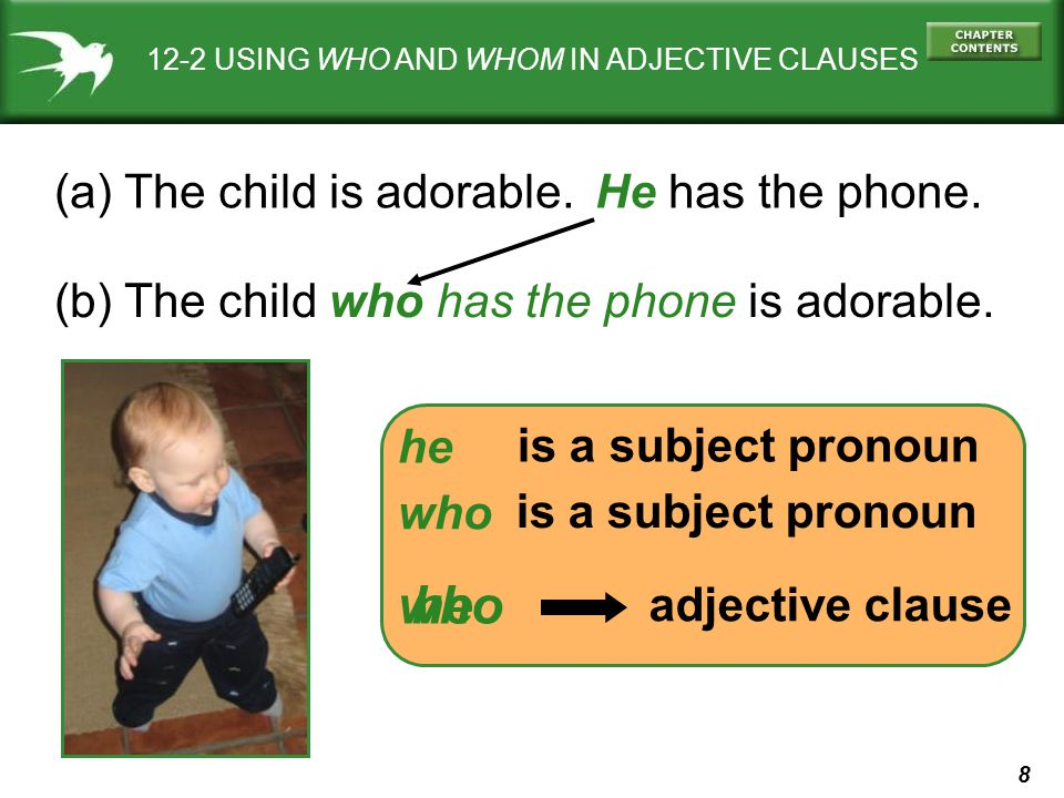 8 12-2 USING WHO AND WHOM IN ADJECTIVE CLAUSES (a) The child is adorable.