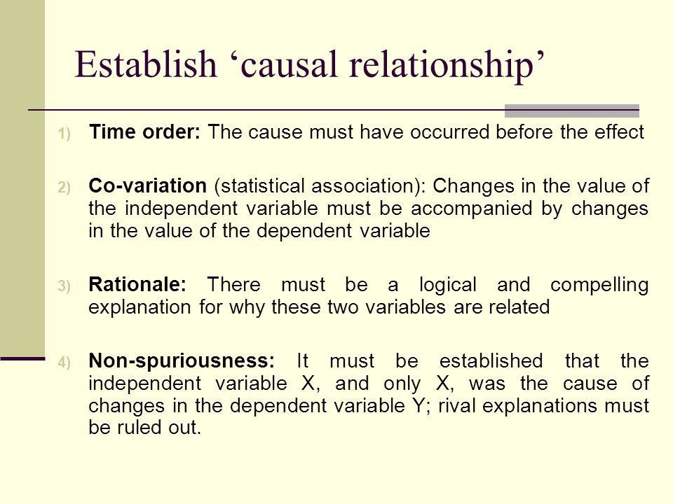 Establish 'causal relationship' 1) Time order: The cause must have occurred before the effect 2) Co-variation (statistical association): Changes in the value of the independent variable must be accompanied by changes in the value of the dependent variable 3) Rationale: There must be a logical and compelling explanation for why these two variables are related 4) Non-spuriousness: It must be established that the independent variable X, and only X, was the cause of changes in the dependent variable Y; rival explanations must be ruled out.