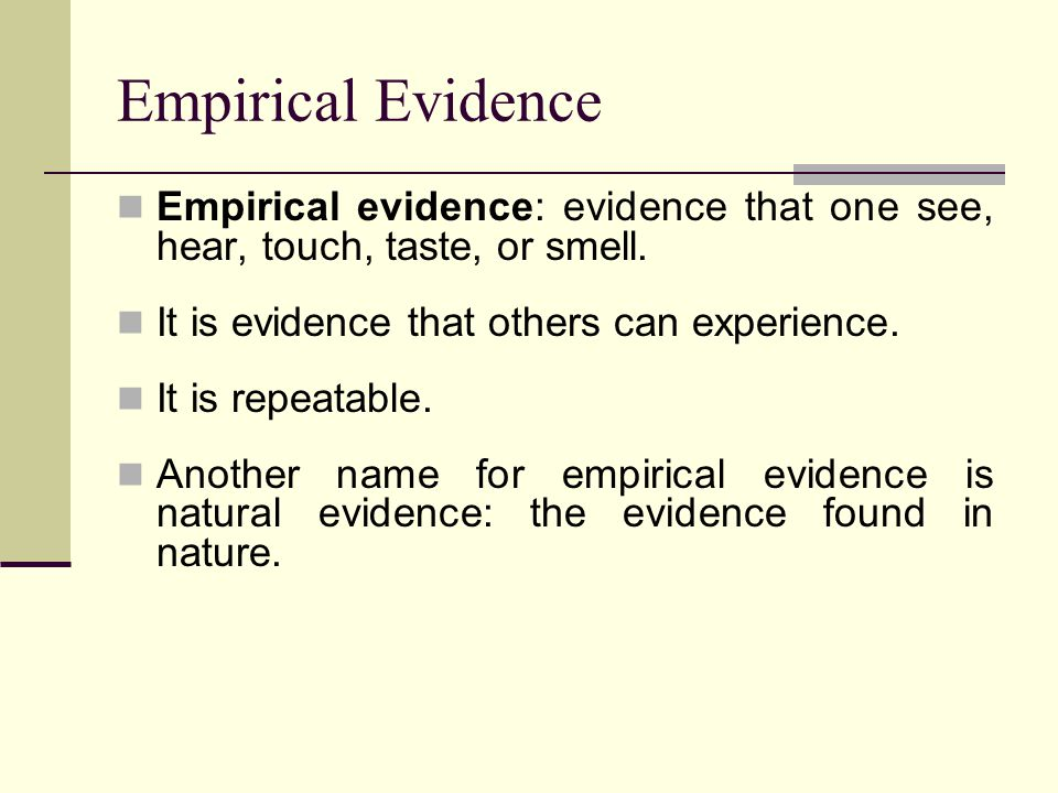 Authoritarian Evidence Authoritarian evidence: what authorities (people, books, billboards, television commercials, etc.) tell you to believe The most common alternative to empirical evidence.