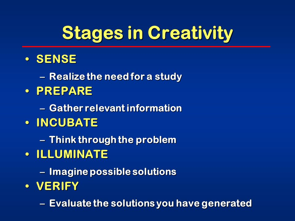 Stages in Creativity SENSESENSE –Realize the need for a study PREPAREPREPARE –Gather relevant information INCUBATEINCUBATE –Think through the problem ILLUMINATEILLUMINATE –Imagine possible solutions VERIFYVERIFY –Evaluate the solutions you have generated