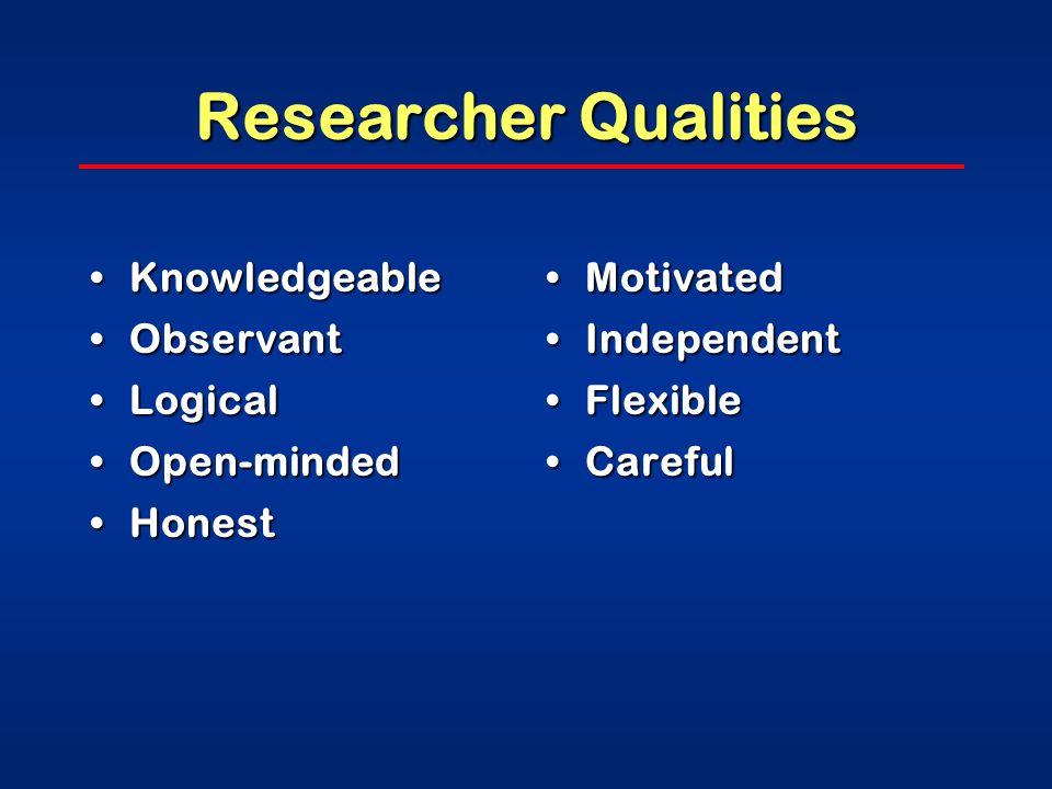 Researcher Qualities CuriousCurious InquisitiveInquisitive Eager to learnEager to learn SkepticalSkeptical PerceptivePerceptive PersistentPersistent PatientPatient OriginalOriginal CreativeCreative