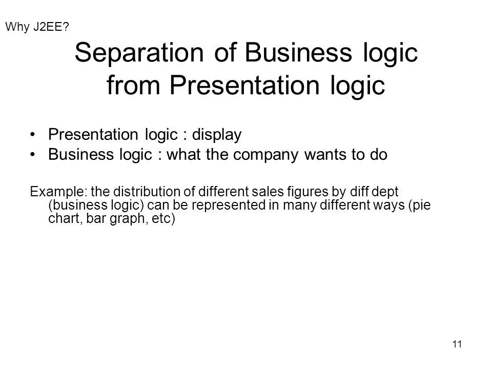 11 Separation of Business logic from Presentation logic Presentation logic : display Business logic : what the company wants to do Example: the distri