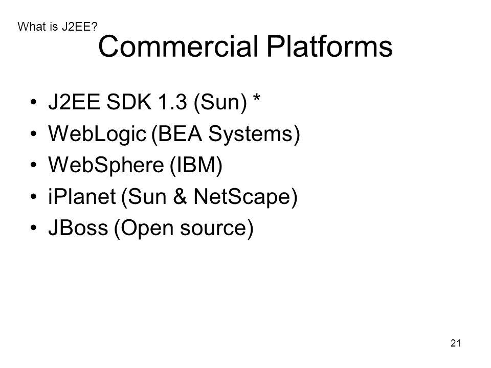 21 Commercial Platforms J2EE SDK 1.3 (Sun) * WebLogic (BEA Systems) WebSphere (IBM) iPlanet (Sun & NetScape) JBoss (Open source) What is J2EE?