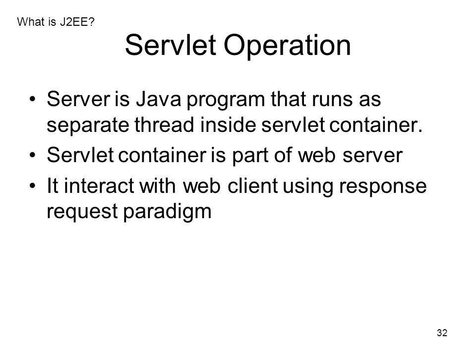 32 Servlet Operation Server is Java program that runs as separate thread inside servlet container. Servlet container is part of web server It interact