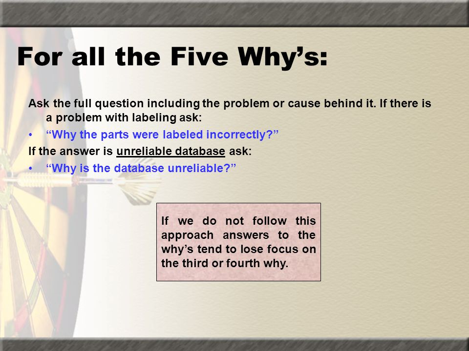 """For all the Five Why's: Ask the full question including the problem or cause behind it. If there is a problem with labeling ask: """"Why the parts were l"""