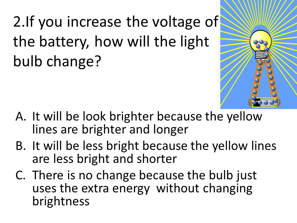 3.If you increase the voltage of the battery, how will the electron display change.