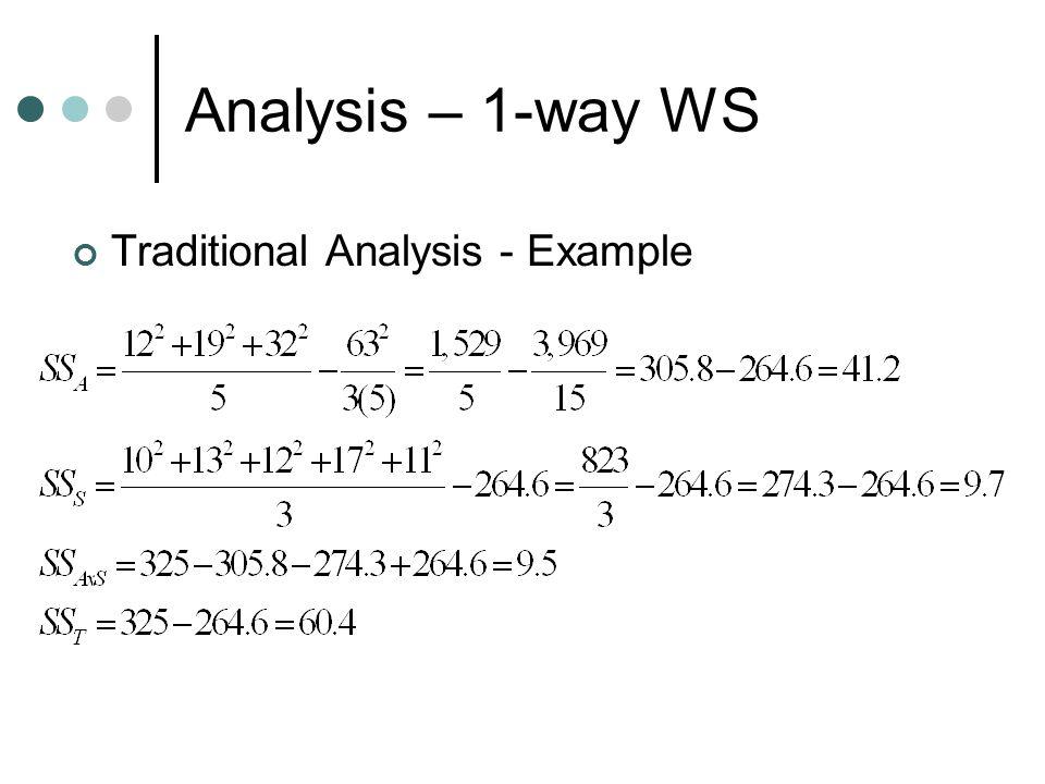 Analysis – 1-way WS Traditional Analysis - Example