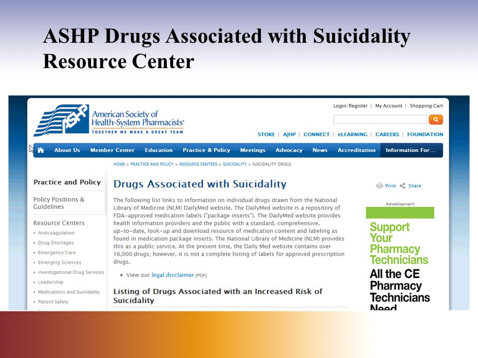 ASHP Drugs Associated with Suicidality Resource Center