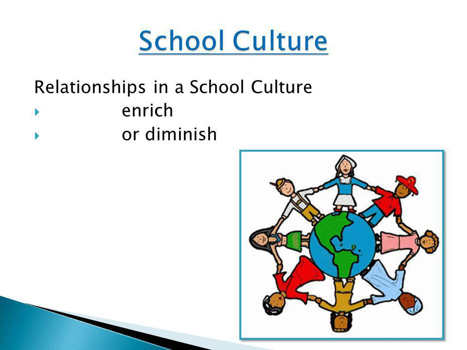 Relationships in a School Culture  enrich  or diminish