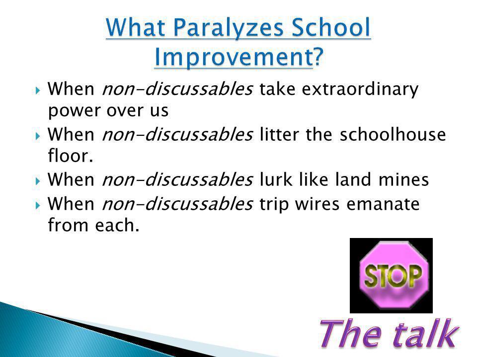  When non-discussables take extraordinary power over us  When non-discussables litter the schoolhouse floor.