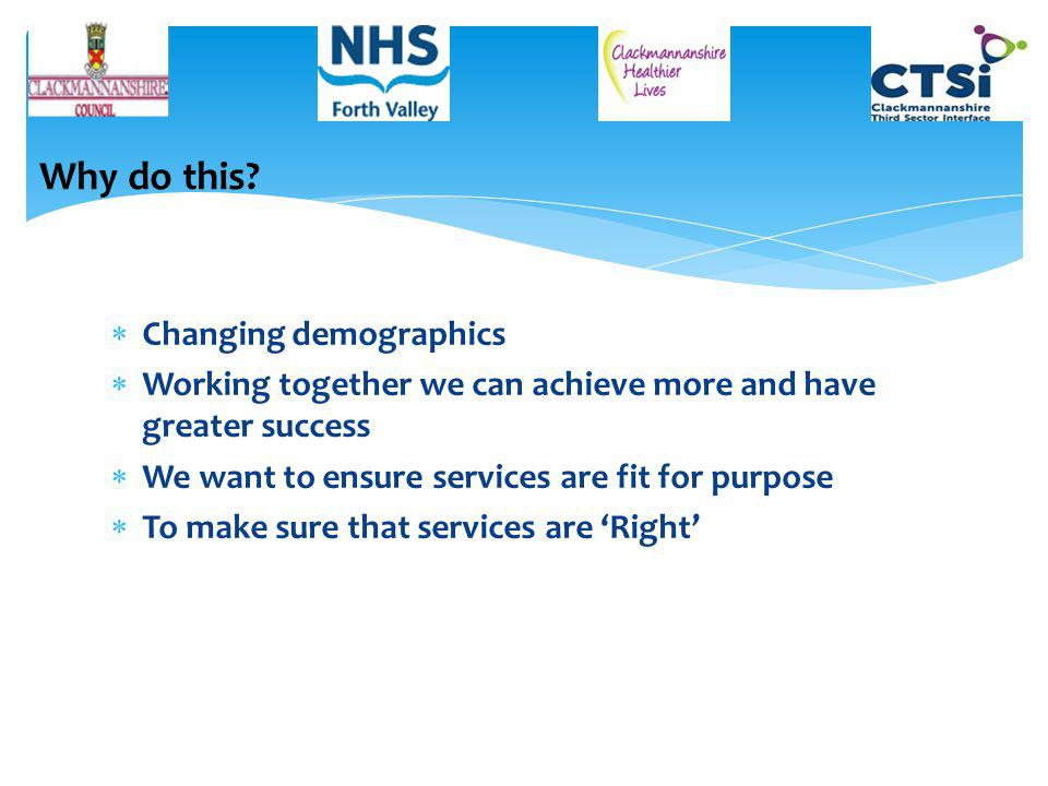  Changing demographics  Working together we can achieve more and have greater success  We want to ensure services are fit for purpose  To make sure that services are 'Right' Why do this