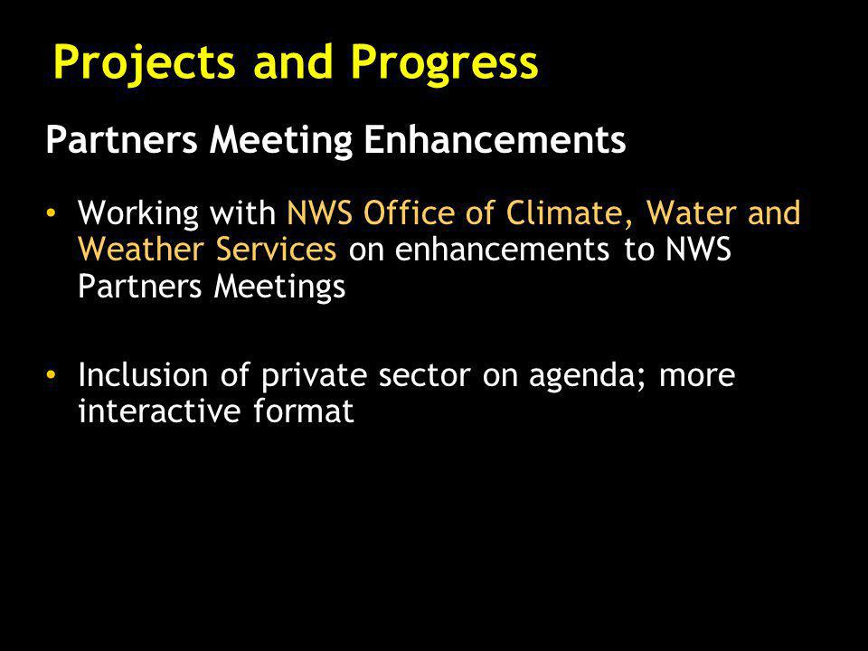 Partners Meeting Enhancements Working with NWS Office of Climate, Water and Weather Services on enhancements to NWS Partners Meetings Inclusion of private sector on agenda; more interactive format Projects and Progress
