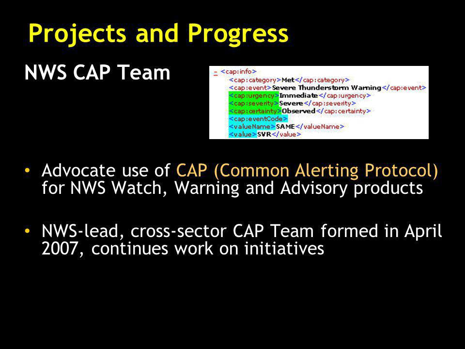 NWS CAP Team Advocate use of CAP (Common Alerting Protocol) for NWS Watch, Warning and Advisory products NWS-lead, cross-sector CAP Team formed in Apr