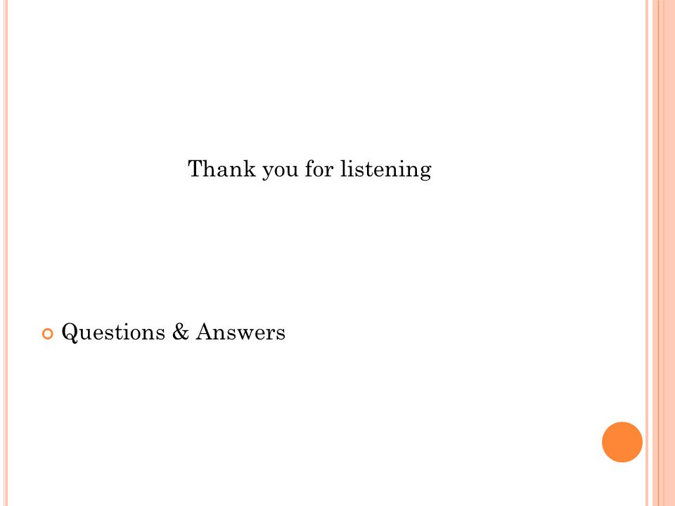 Thank you for listening Questions & Answers