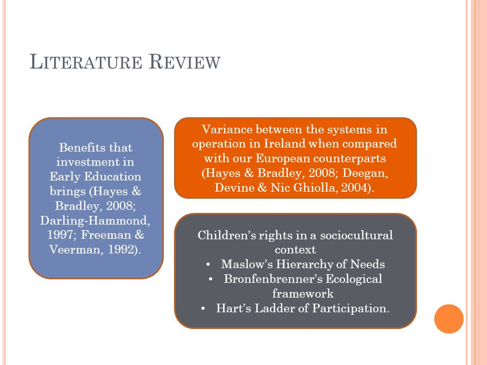 L ITERATURE R EVIEW Benefits that investment in Early Education brings (Hayes & Bradley, 2008; Darling-Hammond, 1997; Freeman & Veerman, 1992).
