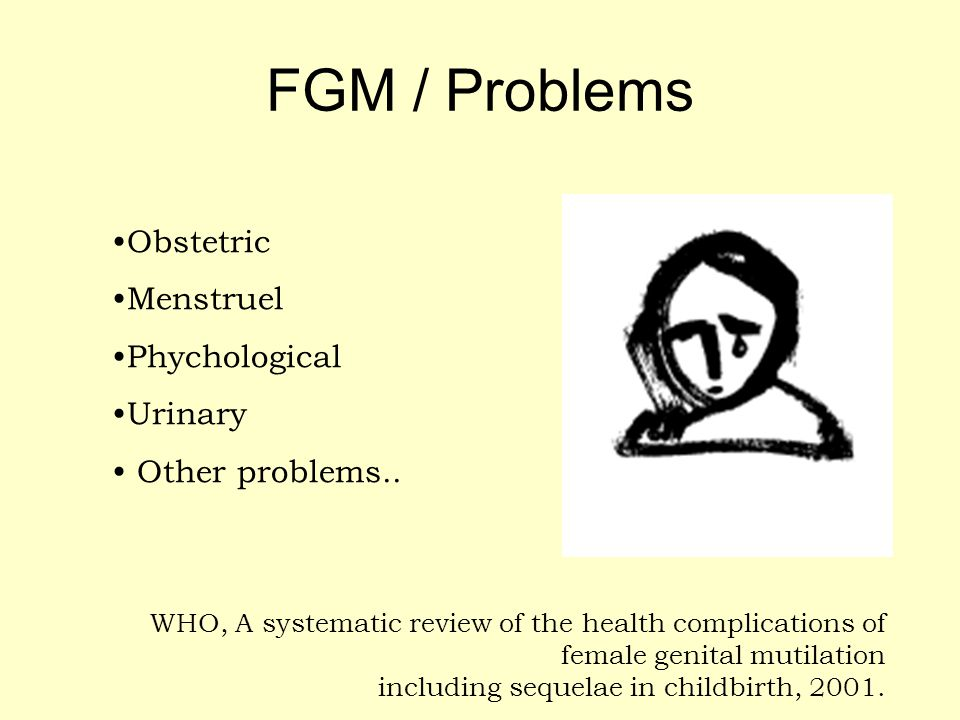 FGM / Problems Obstetric Menstruel Phychological Urinary Other problems.. WHO, A systematic review of the health complications of female genital mutil