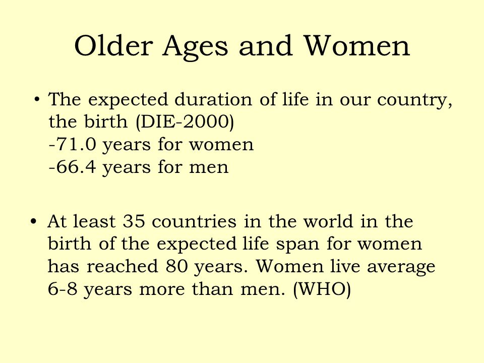 Older Ages and Women The expected duration of life in our country, the birth (DIE-2000) -71.0 years for women -66.4 years for men At least 35 countrie