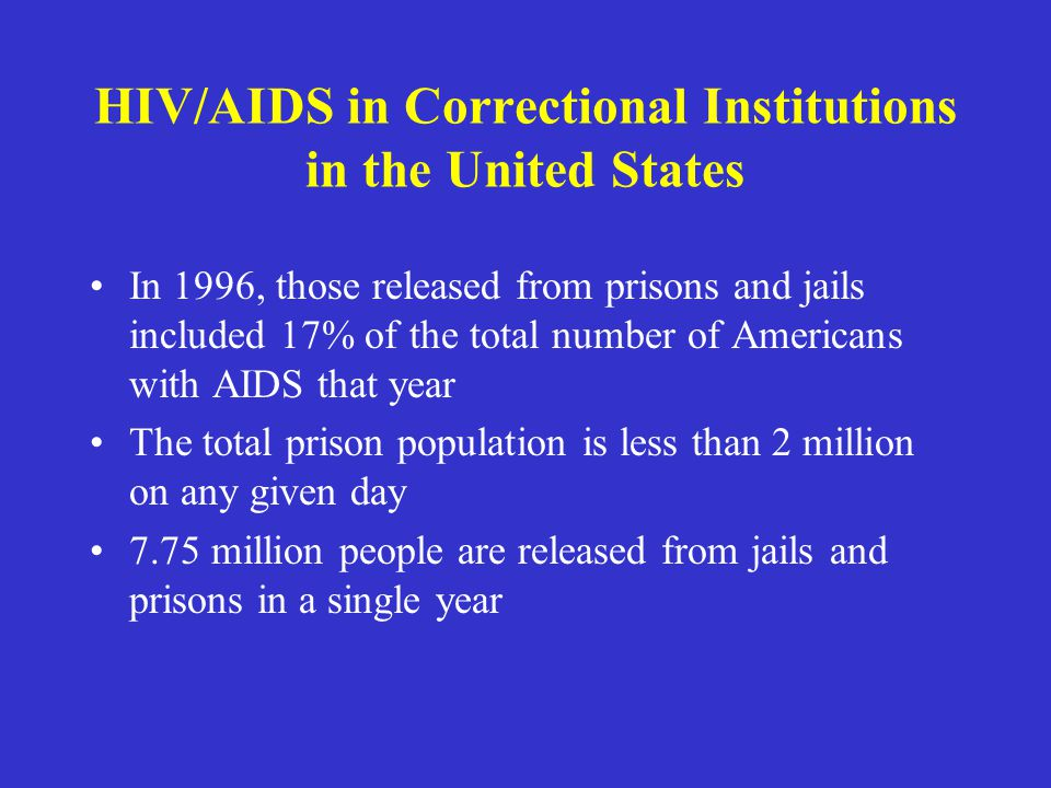 HIV/AIDS in Correctional Institutions in the United States In 1996, those released from prisons and jails included 17% of the total number of American