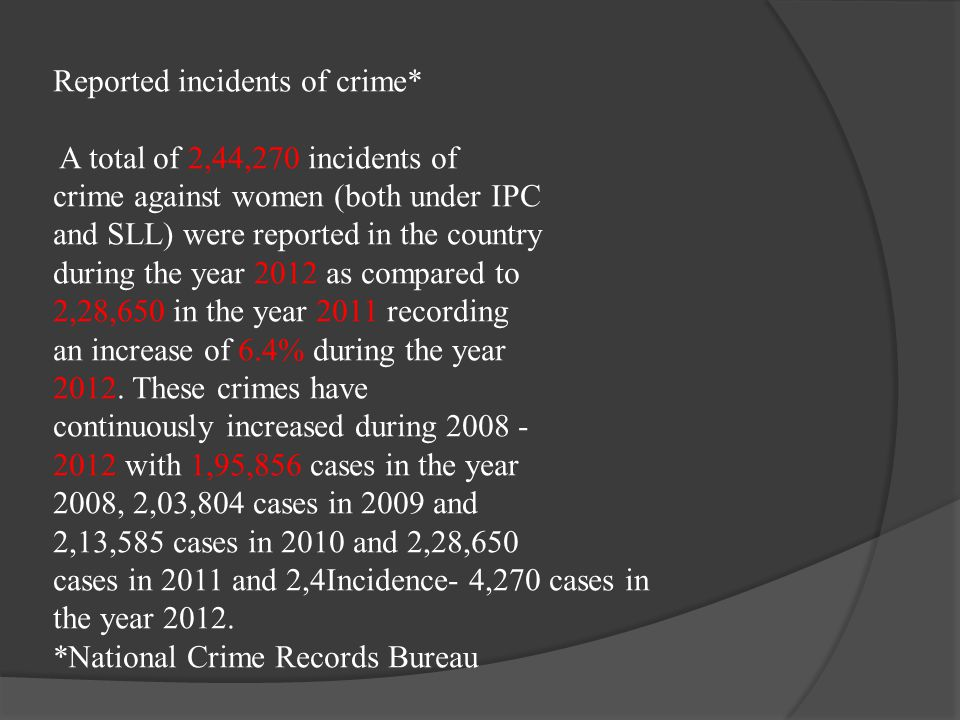 Reported incidents of crime* A total of 2,44,270 incidents of crime against women (both under IPC and SLL) were reported in the country during the yea