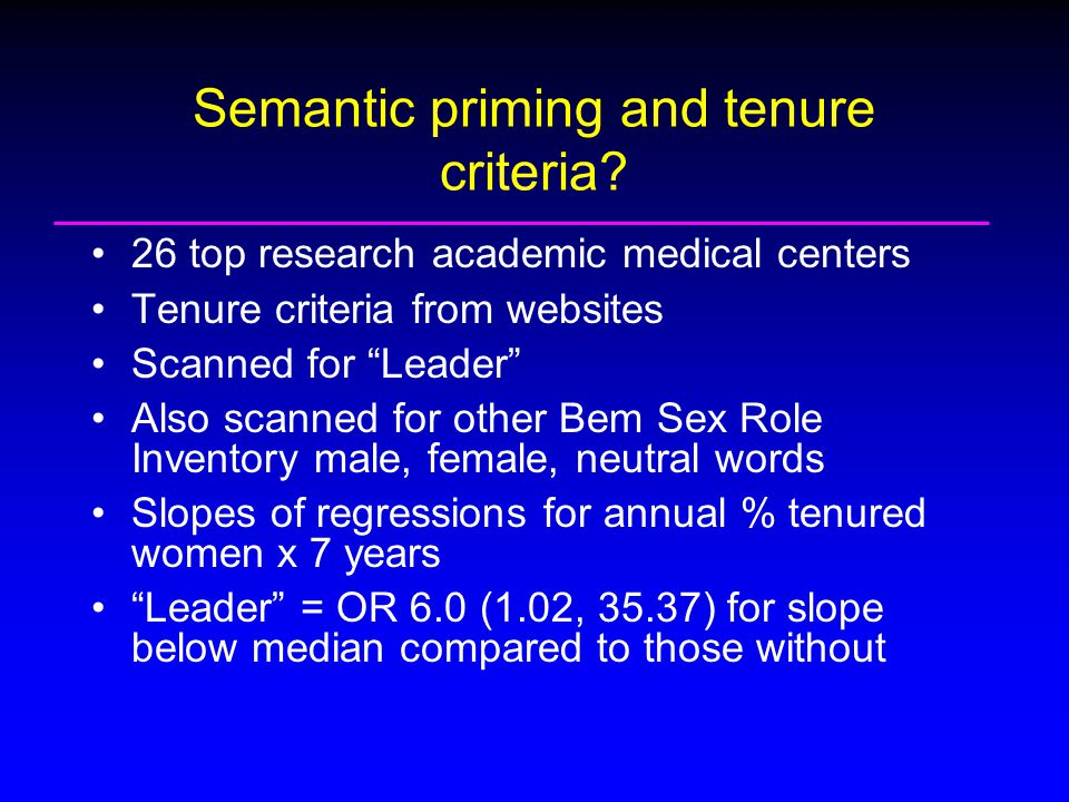 Semantic priming and tenure criteria.