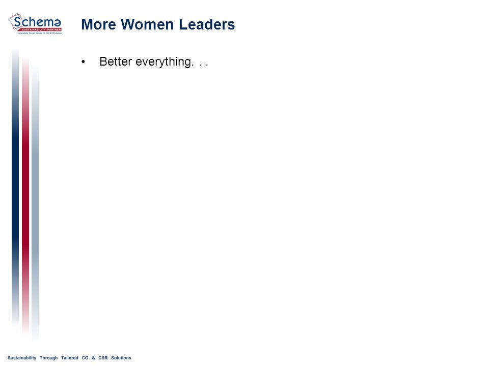 More Women Leaders Better everything...