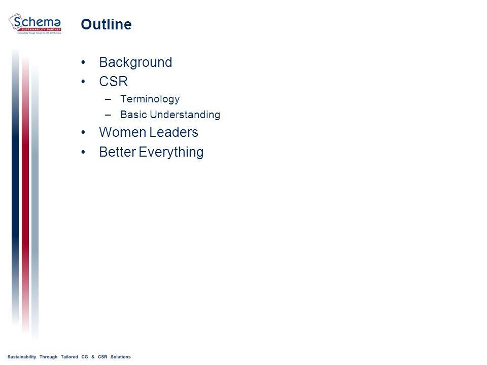 Outline Background CSR –Terminology –Basic Understanding Women Leaders Better Everything