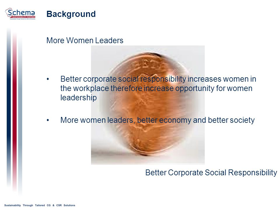 Background More Women Leaders Better Corporate Social Responsibility Better corporate social responsibility increases women in the workplace therefore increase opportunity for women leadership More women leaders, better economy and better society
