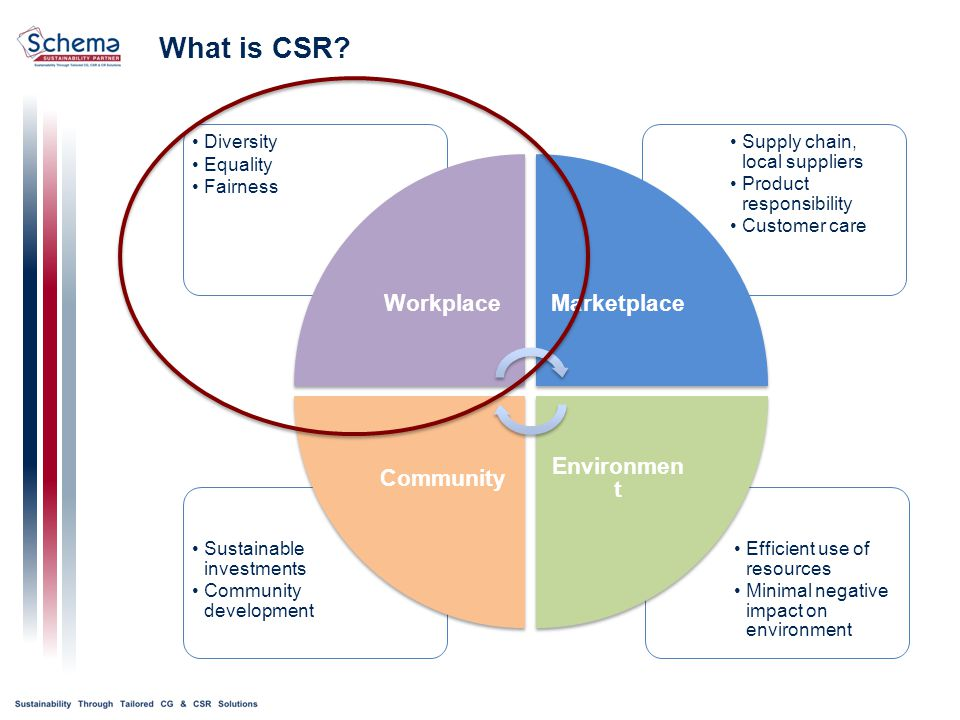 Efficient use of resources Minimal negative impact on environment Sustainable investments Community development Supply chain, local suppliers Product responsibility Customer care Diversity Equality Fairness WorkplaceMarketplace Environmen t Community What is CSR