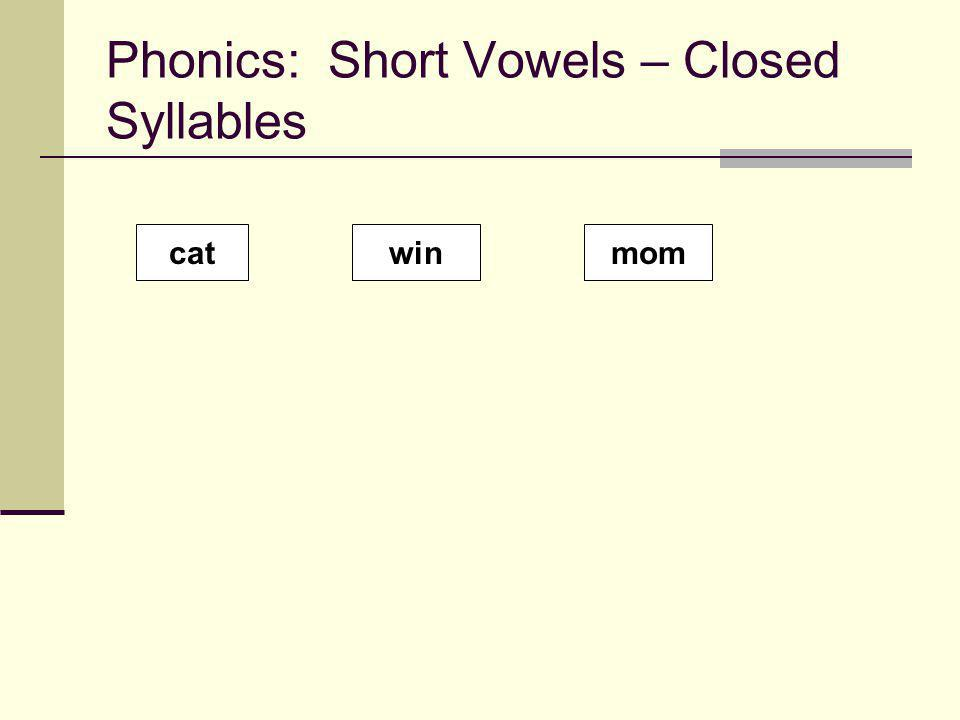 Phonics: Short Vowels – Closed Syllables catwinmom