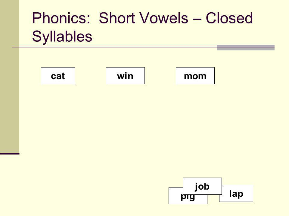 Phonics: Short Vowels – Closed Syllables catwinmom lap pig job