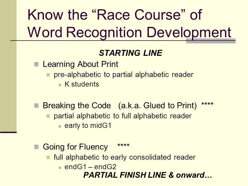 Know the Race Course of Word Recognition Development STARTING LINE Learning About Print pre-alphabetic to partial alphabetic reader K students Breaking the Code (a.k.a.