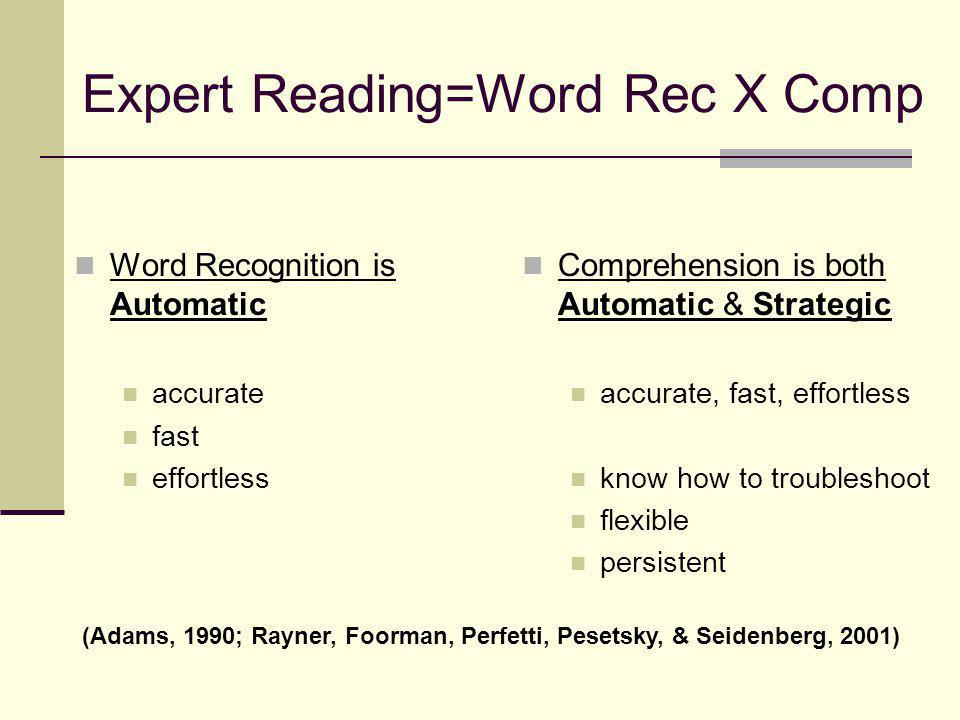 Expert Reading=Word Rec X Comp Word Recognition is Automatic accurate fast effortless Comprehension is both Automatic & Strategic accurate, fast, effortless know how to troubleshoot flexible persistent (Adams, 1990; Rayner, Foorman, Perfetti, Pesetsky, & Seidenberg, 2001)