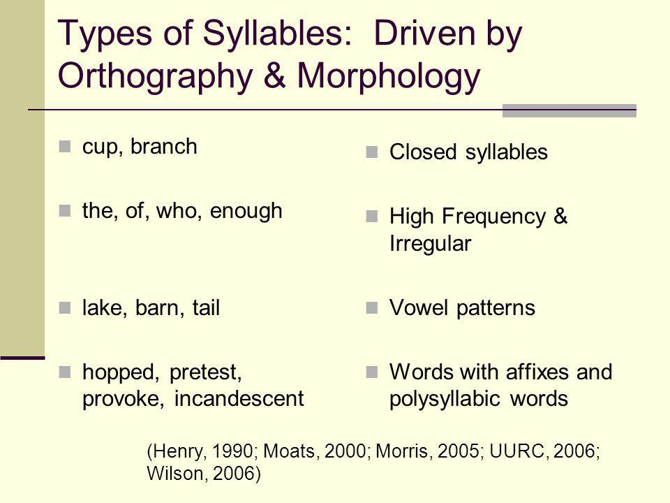 Types of Syllables: Driven by Orthography & Morphology cup, branch the, of, who, enough lake, barn, tail hopped, pretest, provoke, incandescent Closed syllables High Frequency & Irregular Vowel patterns Words with affixes and polysyllabic words (Henry, 1990; Moats, 2000; Morris, 2005; UURC, 2006; Wilson, 2006)