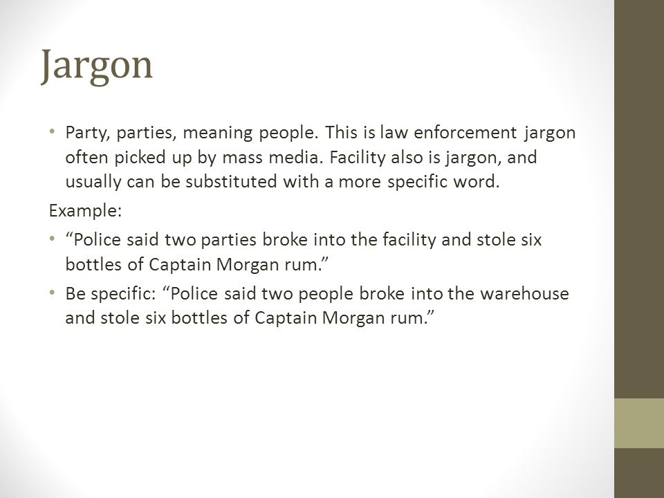 Jargon Party, parties, meaning people.