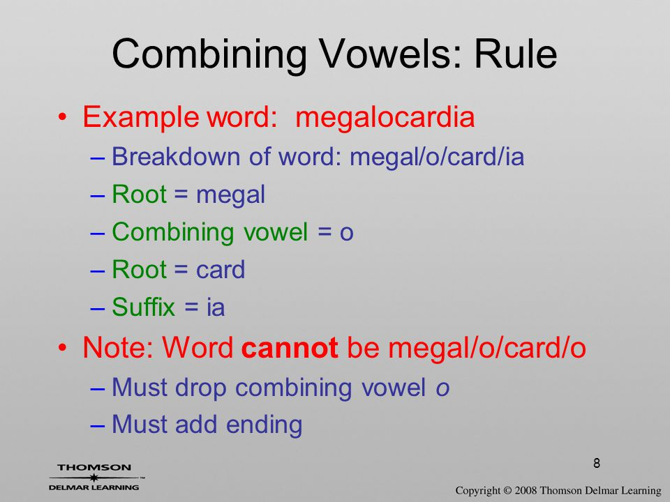 29 Additional Pronunciation Rules Word roots that end in 'g' –If followed by 'e' or 'i' –Pronounced as soft 'g' –Sounds like 'j' Examples –Laryng / ectomy –Pharyng / itis