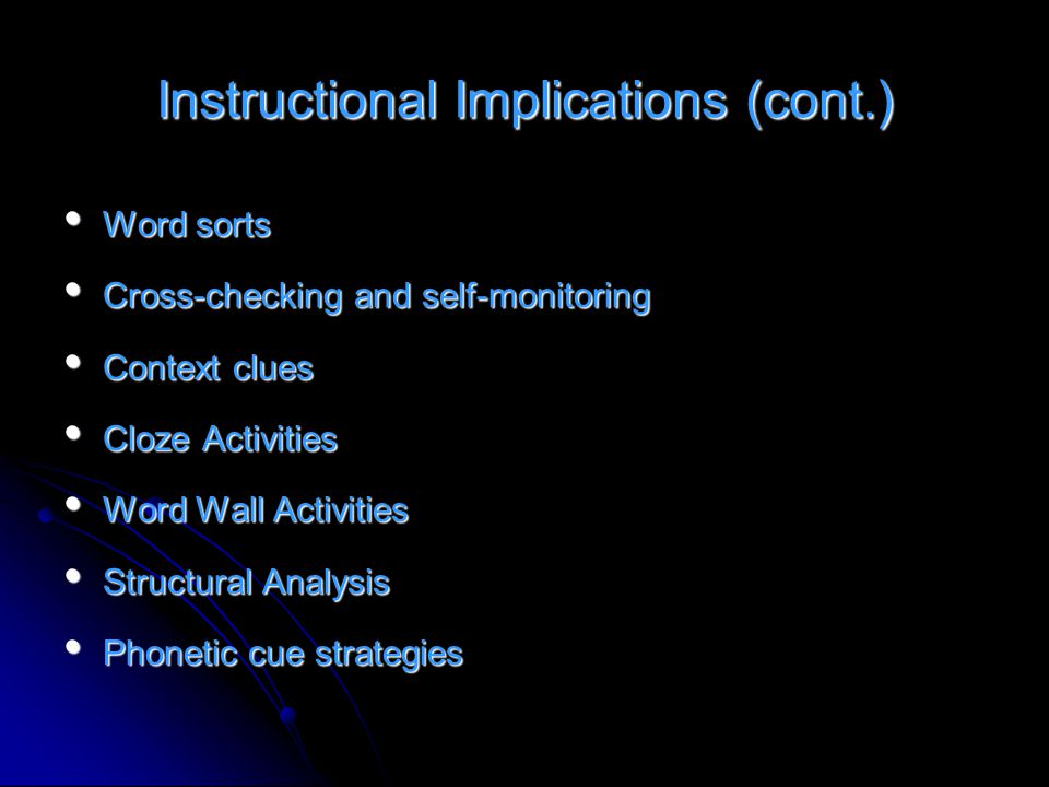 Instructional Implications (cont.) Word sorts Word sorts Cross-checking and self-monitoring Cross-checking and self-monitoring Context clues Context c